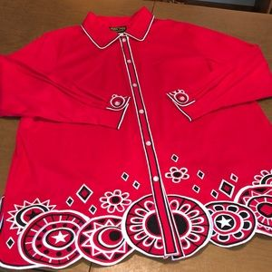 Red BOB MAKIE Embroidered Long Sleeve Tunic Top 1X